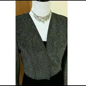 Sparkling Black Cropped Evening Jacket